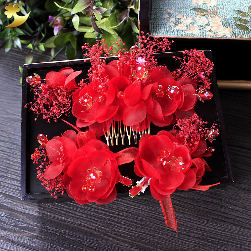 Charm Red silk flower hair comb hairgrip girl hairpins rhinestone hair clip headpiece bride fascinator wedding accessories 89275 chic faux pearl layered sweater chain necklace for women