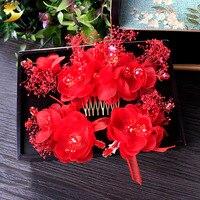 Encanto Vermelho flor de seda grampos de cabelo strass pente de cabelo grampo de cabelo da menina clipe headpiece noiva fascinator acessórios do casamento 89275