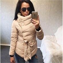 2016 winter jacket women duck down coat 1950s 60s high collar with belt parkas for women winter 3 colors warm outerwear coats