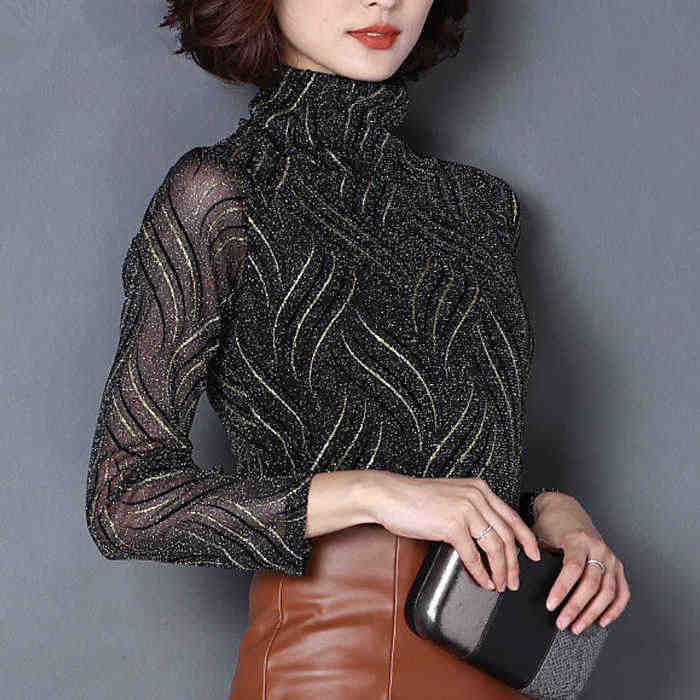 Women's Mesh Turtleneck shirt female Lace Blouses long-sleeve Print Lace Tops Slim Elegant Office OL Winter Warm shirts S M L