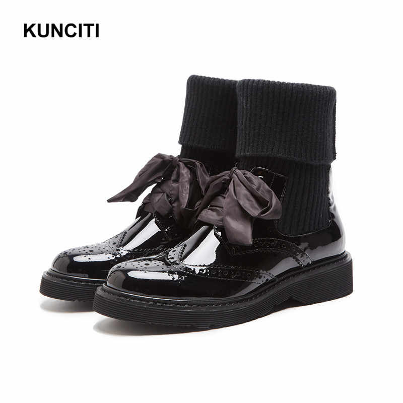 92c468f67d51 2018 KUNCITI Patent Leather Women Chelsea Boots Patchwork Ladies Med Heel Ankle  Booties Autumn Winter Newest