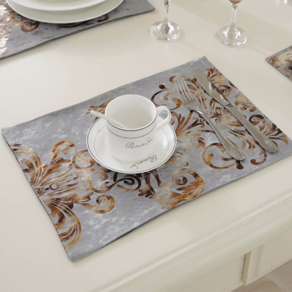 6pcslot 2638cm fashion luxury dinner placemats tableware pad for wedding party decoration dinning kitchen table mats - Kitchen Table Mats