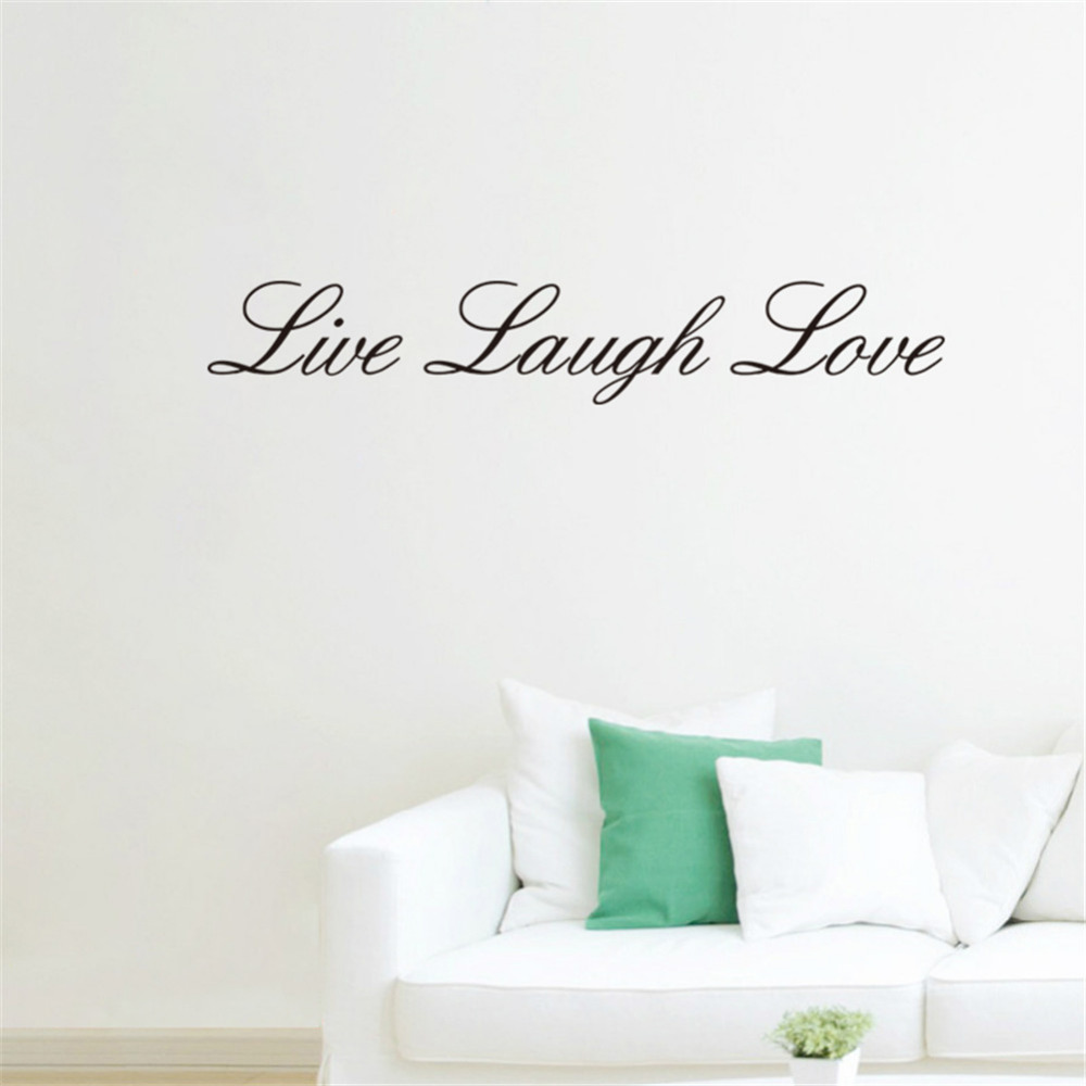 English Words Live Laugh Love Wall Sticker Removable Bedroom Kitchen Background Wall Papers Home Decorations