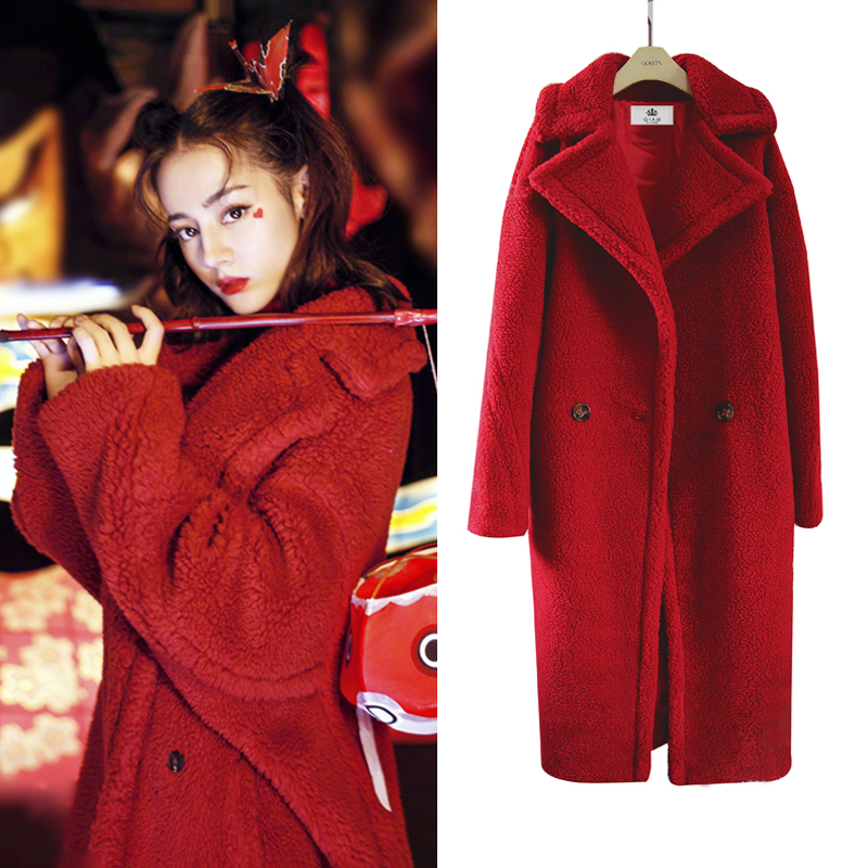 3d401545d84 Nagodo Teddy Coat Women 2018 Winter Thicken Pink Faux Fur Coat lapel collar  female Loose Plush Coat Warm Long Lamb Wool Coats