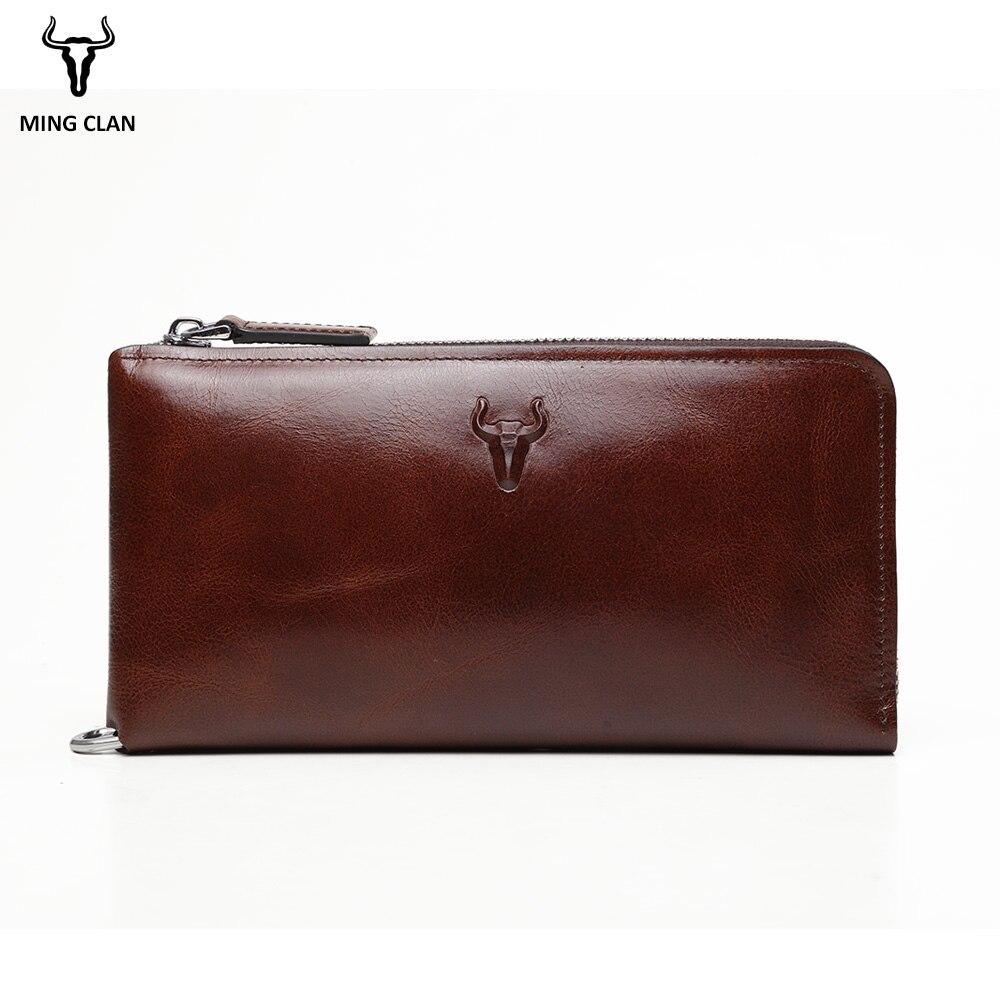 Mingclan Men Wallets Genuine Leather Long Clutch Purse Zipper & Hasp Men Walet Portomonee Rfid Luxury Brand Money Bag Coin Purse ...