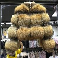 Настоящее енота Меховая куртка Для женщин толстые теплые 2018 Новинка зимы Мода природных меховая одежда женский пальто леди из натурального
