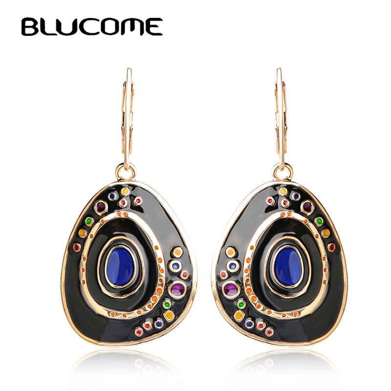 Blucome Latest Long Drop Earrings Vintage Party Holiday Jewelry For Women Girls Best Gifts Black Enamel Alloy Earrings Brincos long chain enamel bird shape drop earrings