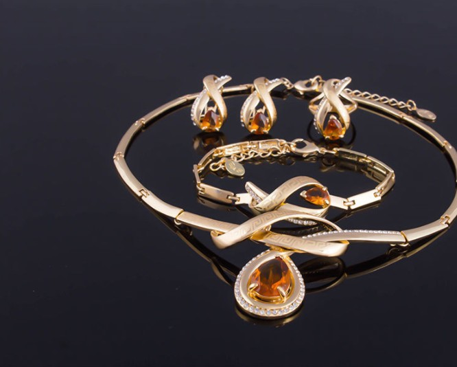Bridal Wedding jewelry Sets Party Fashion Zircon Crystal Pendant jewelry sets for Women big jewelry four sets J1123