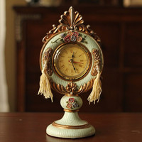 European Home Decoration Vintage Royal Rose tassel Cameo Handpainted Resin table clock Rose table clock Royal Mantle Clock