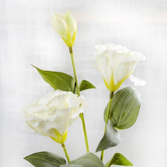 1PC European Artificial Flower 3 Heads Fake Eustoma Gradiflorus Lisianthus Christmas Wedding Party Home Decorative 5 Colours