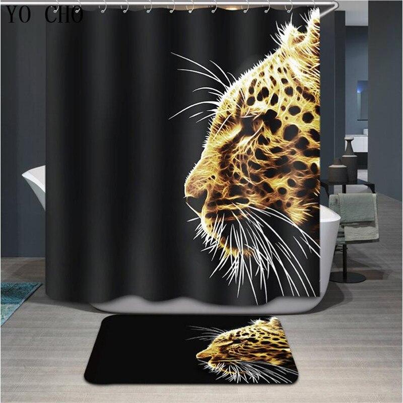 YO CHO High-end Bathroom Curtain Bath Mat Set Tiger Close-up Printed Waterproof Polyester Non-slip Shower Curtain Tapis De Bain