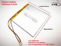 5P2. 0 a bateria do tablet 3.7 V 4000 mAH 34100103 bateria De Polímero de iões de lítio/bateria de Iões de lítio para tablet pc da bateria