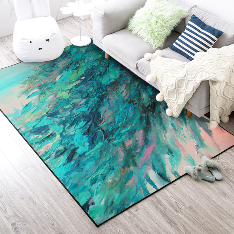 Nordic abstract oil painting green feather home bedroom bedside entrance elevator floor mat sofa coffee table anti slip carpet-in Carpet from Home & Garden