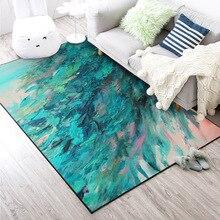 Nordic astratta della pittura a olio verde piuma casa da comodino camera da letto ingresso ascensore tappetino divano tavolo da caffè antiscivolo tappeto