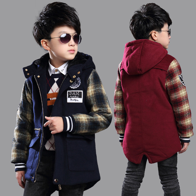 Winter Early Spring Boys Woolen Long Jackets Velvet Inside Warm England Style Plaid Overcoat For Kids Boys Coat Children Clothes