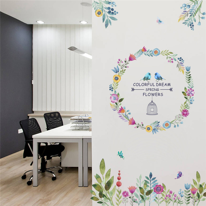Colorful Dream Spring Flowers Birds Wall Stickers Home DIY PVC Decorations Living Room Bedroom Decor Wall Glass Mural Art Decals