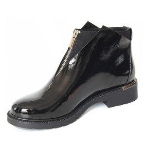 Image 2 - XAXBXC 2019 レトロ英国冬黒 Pu レザージッパー Brogues ショートアンクルブーツ暖かい女性ブーツ手作りカジュアル婦人靴