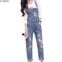 PLAMTEE Boyfriends Ripped Holes Womens Jumpsuit 2017 Casual Sleeveless Washed Jeans Rompers All Match Combinaison Femme