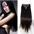 7 unids/set Malasio clip en extensiones de cabello 6A bruto de Malasia heterosexual cabello virgen clip en extensiones de cabello humano recto