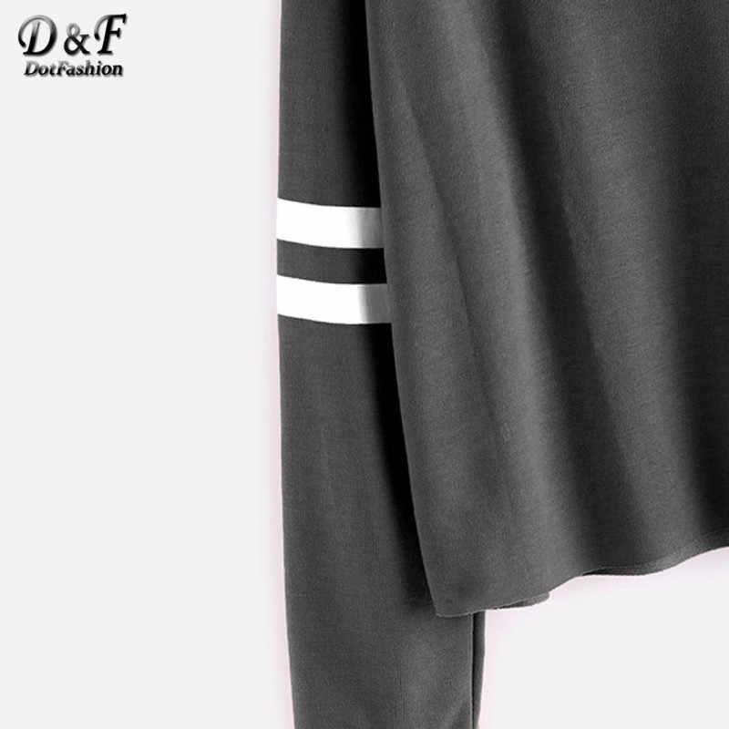 b9b1749cc65 ... Dotfashion Deep Drop Shoulder Tops 2019 Autumn Grey Varsity Striped  Crop T-shirt Women s Round ...