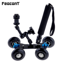 """Mobile Rolling Sliding Dolly 7"""" Magic Arm Extendable Self Portrait Handheld Monopod With Attached Tripod Mount For GoPro 7"""