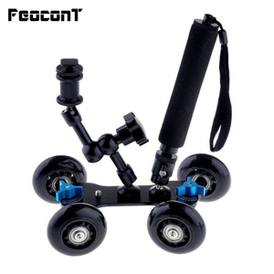 """Image 1 - Mobile Rolling Sliding Dolly 7"""" Magic Arm Extendable Self Portrait Handheld Monopod With Attached Tripod Mount For GoPro 7"""