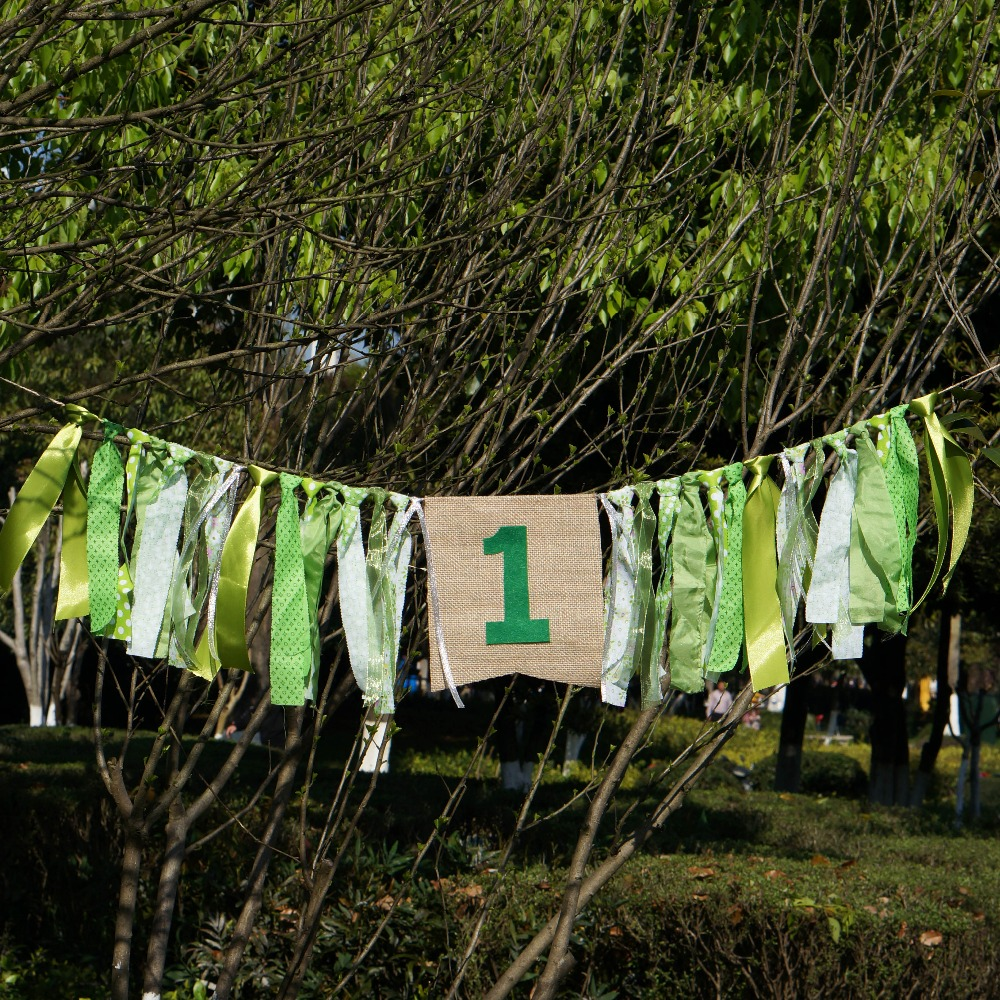Forest Theme Green Banner Customized Birthday Party BabyShower Flag Chair Nursery Garland Candy Bar Decoration Deco Anniversaire in Banners Streamers Confetti from Home Garden