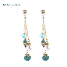Sansummer New Hot Fashion Golden Long Chain Fringe Pearl Shell Conch Shape Boho Retro Wind Glamour Dangle Earrings Women Jewelry conch shape embellished sweater chain