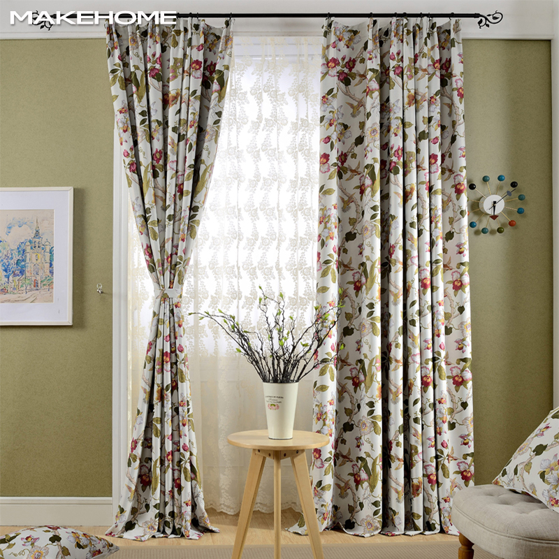 US $17.49 52% OFF|Country Style Blackout Window Curtains for Living Room  Bedroom Printed Fancy Flowers Curtain Kitchen Blind-in Curtains from Home &  ...