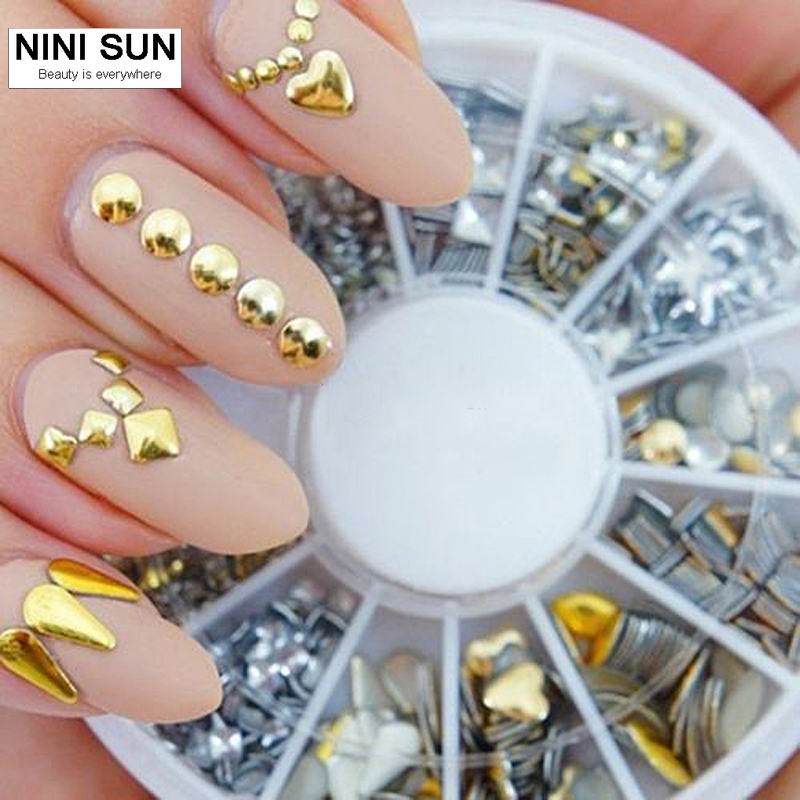 2016 Jual Panas Gold / Silver Metallic Studs Nail Decoration 120Pcs Nail Art Salon Hiasan Pelekat Tips Rhinestone Untuk Nail Art