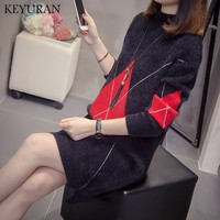 2019 New Autumn Winter Turtleneck sweater Knitted Sweater Women Solid Color Long sweater dress pullover Jumper tops plus size
