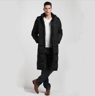 2015 new Men's winter ultra long down jackets black outwear coat ...