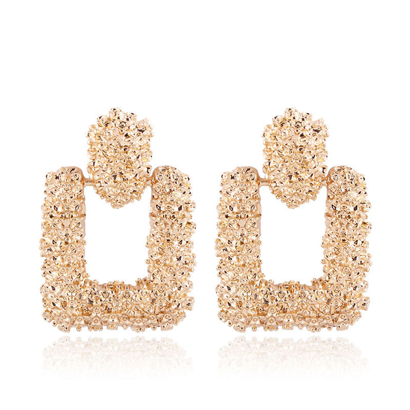 Vintage Earrings for women gold color Geometric statement earring 2019 texture metal drop earing Hanging fashion jewelry