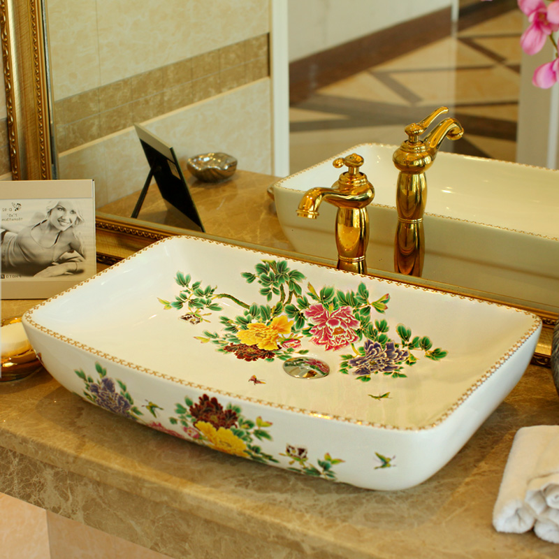 Exceptional Rectangular China Artistic Europe Style Counter Top Porcelain Wash Basin Bathroom  Sinks Ceramic Art Hand Painted Part 16