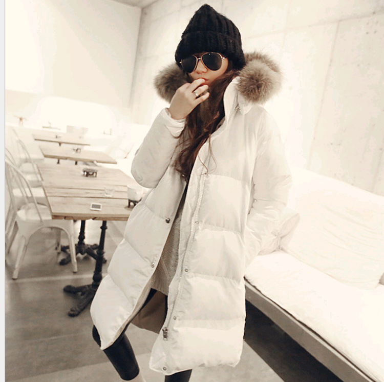 Real raccoon dog fur collar hooded fashion white duck down jackets women down coats outerwear 2018 autumn winter MOVAU0184 buenos ninos thick winter children jackets girls boys coats hooded raccoon fur collar kids outerwear duck down padded snowsuit