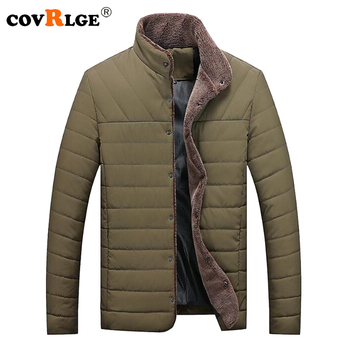 Covrlge Plus Size Men Parkas 2018 Winter New Solid Male Cotton Pad Coats Fashion Stand-collar Thicker Warm Mens Outerwear MWM065 фото