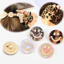 Korean Trend Fashion Alloy Smiley Face Marbled Pattern Golden Jewelry Button Head Rope Accessories Beads For Needlework