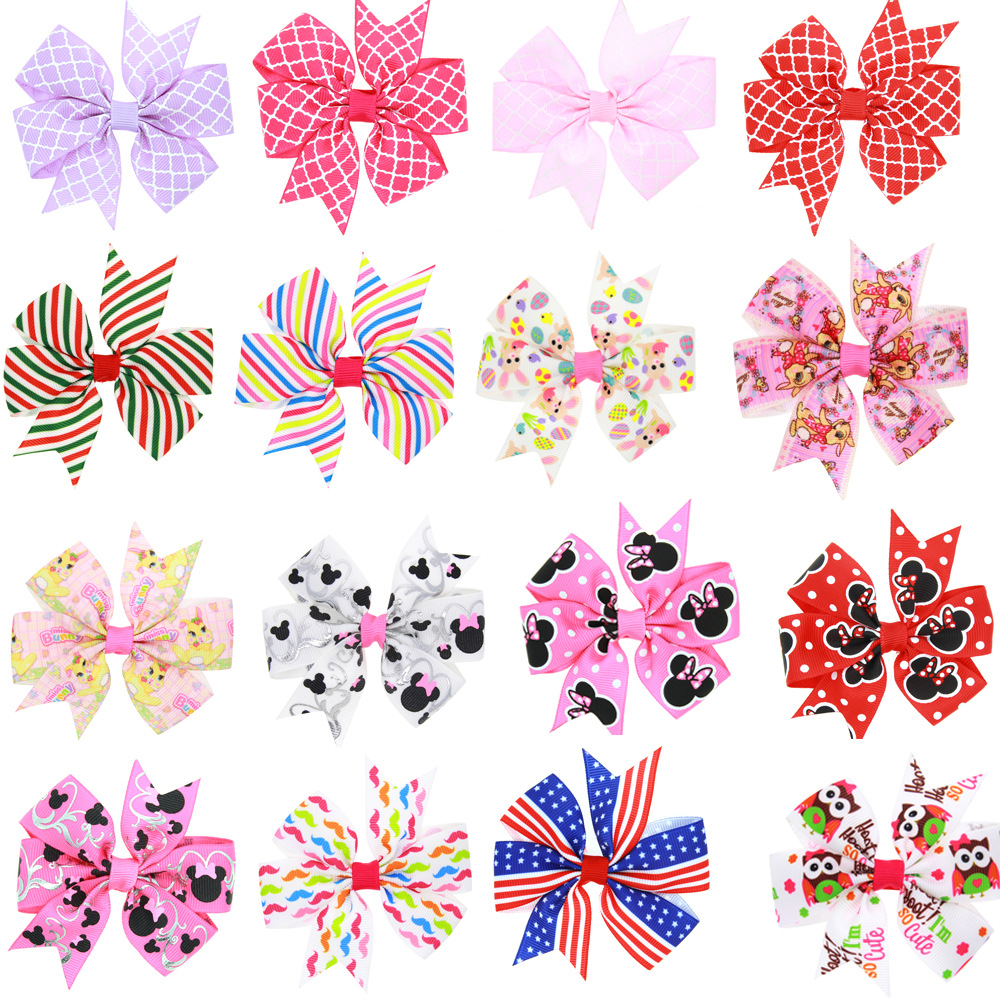 1PCS New Novelty Handmade Boutique Multi - color Stripe Design Hair Bow Hairpin for Kids Girls Clip DIY   Headwear   Barrettes 2017