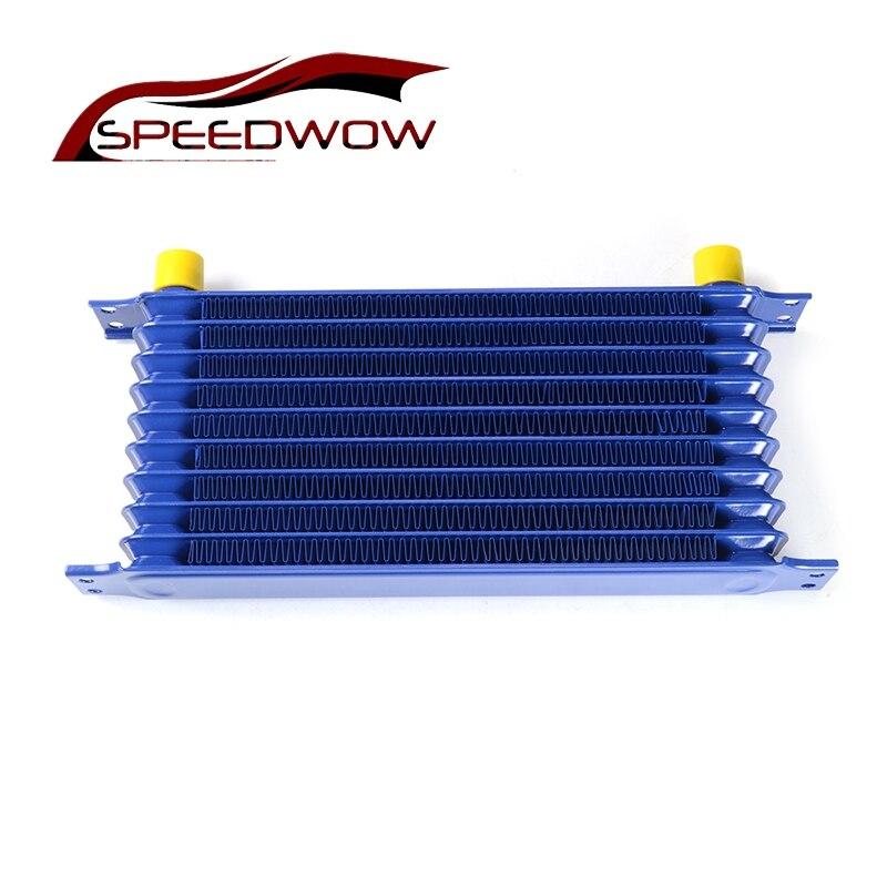 SPEEDWOW 10Row AN10 Универсальный Масляный радиатор передачи двигателя для гонок, алюминиевый масляный радиатор для двигателя, синий