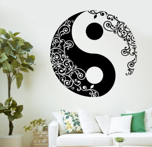 New Arrival Religion Vinyl Wall Decal Buddha Yin Yang Floral Yoga  Meditation Wall Sticker Window Glass