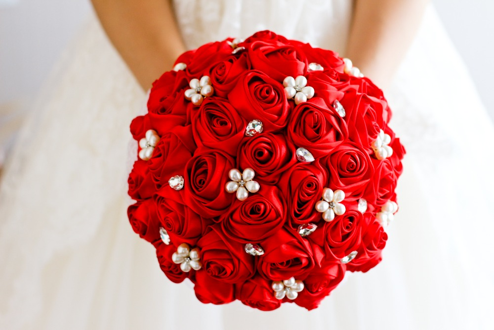 Wedding Bouquet Red Rose Flower Bridal Brooch Bouquet Wedding