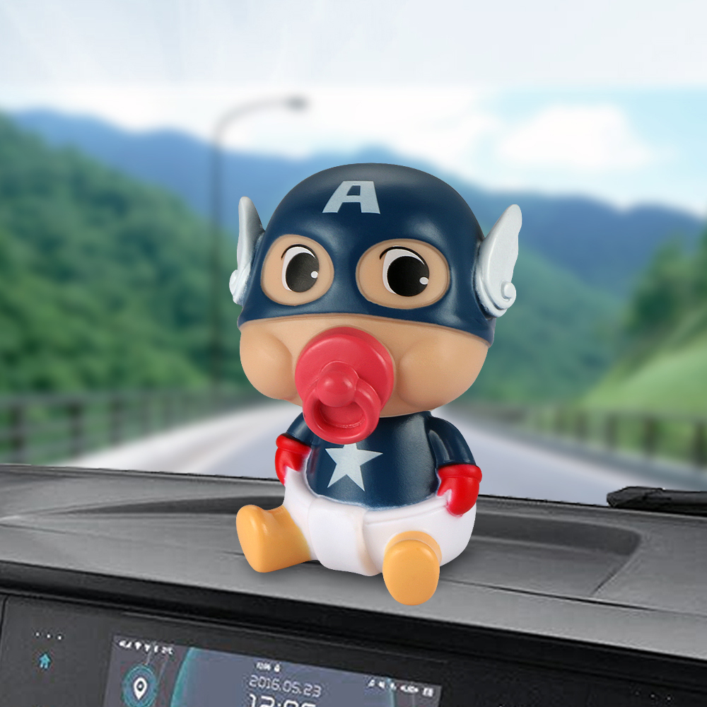 Car Ornament ABS Baby Nipple Doll For Captain America Cute Decoration Automobile Interior Shaking Head Action Figure Model Gifts solar powered head shaking cute hula couple desktop toy