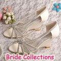 Vestido de Noiva elegante 2015 Das Mulheres sapatos de Noiva Sapatos de Casamento de Cristal Do Salto Cunha Sapatos Dropshipping