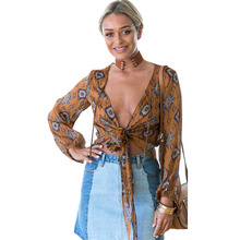 Vintage Pattern Body Blouse Deep V-Neck Bow Tie Loose Long Sleeve Casual Shirt Tops Fashion Women Vestidos femme