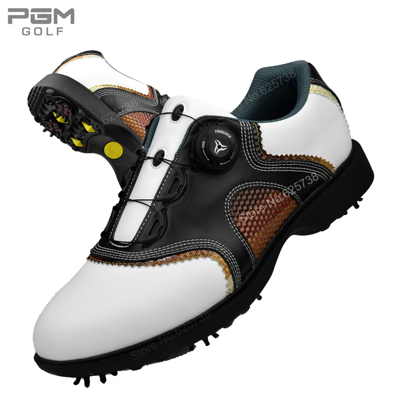2017 New arrival golf ball shoes Men shoes waterproof first layer of cowhide rotary shoelace men's golf sneakers golf ball sample display case