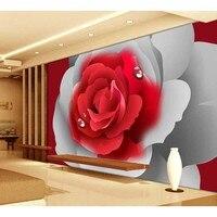 Gota de Água Rosa Vermelha Cinza papel de parede Parede de Fundo para a Fotografia Estúdio Cabine Backgrounds Design 3D Papel De Parede Floral Impresso 110