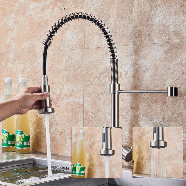 Kitchen Faucet Single Handle Swivel Mixer Tap Nickel Brushed Hot And Cold Water Kitchen Sink Faucet