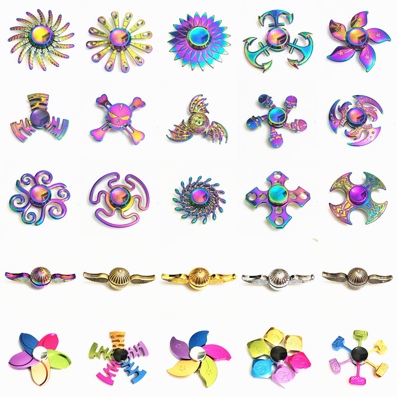 Rainbow Hand Finger Fidget Spinner Eye Electroplate Hybrid Bearing Zilver Zinc Alloy Metal EDC Hand Tri Spiner SZJD