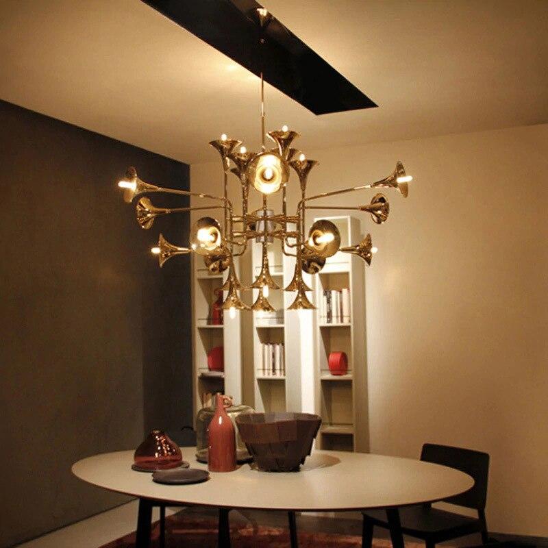 Moderne delightfull botti Or Trompette Pendentif Lampes Vintage Rétro Long tuyau Corne Pendentif Lumière Pour Salon