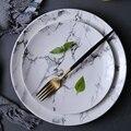 4 stücke 8 zoll 10 zoll Marmor muster porzellan platte keramik Teller geschirr abendessen set marmor geschirr-in Geschirr & Platten aus Heim und Garten bei